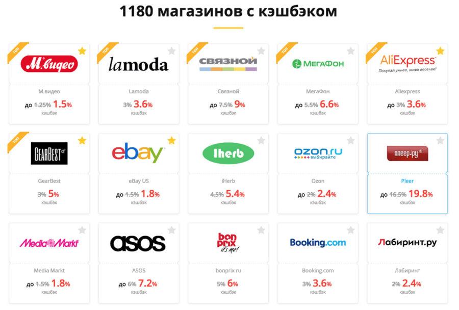 Letyshops кэшбэк в популярных магазинах по состоянию на начало 2018 года