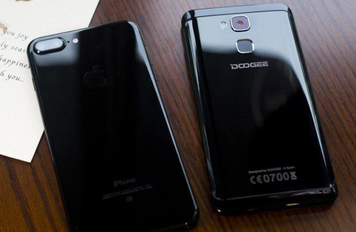 iPhone 7 Plus Черный оникс против Doogee Y6 Piano Black