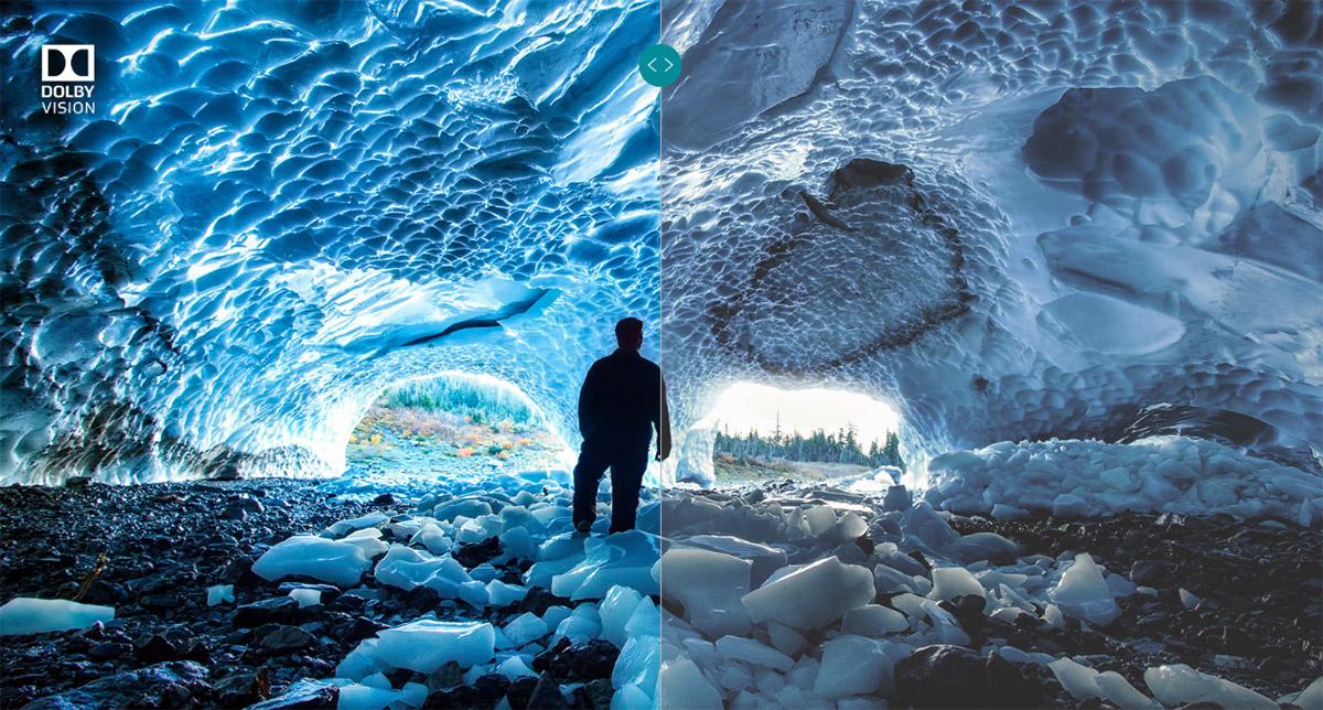 Пример картинки с поддержкой Dolby Vision (слева) и без (справа)