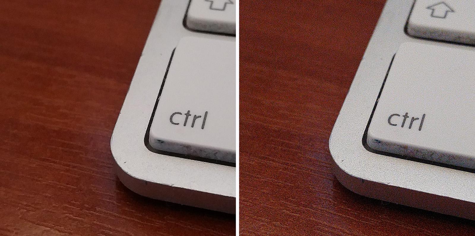 Сравнение фото с включенным шумодавом (слева) и без (справа)