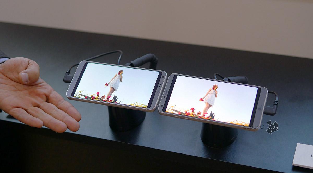 Пример видео на LG G6 с Dolby Vision (справа) и без такой поддержки (слева)