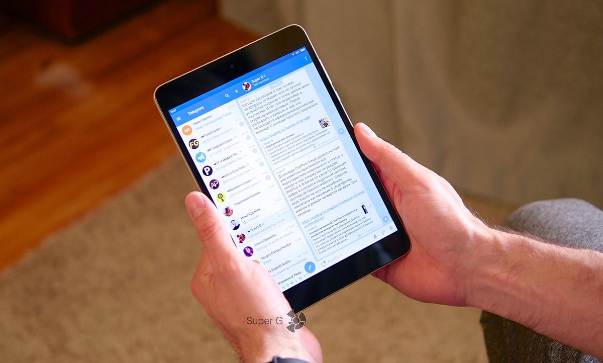 Интерфейс Telegram в планшетном режиме очень хорош