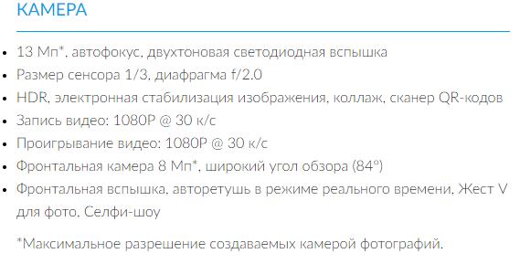 Официальные характеристики камеры Alcatel A5 LED