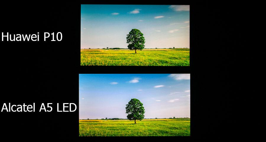 Сравнение дисплеев Huawei P10 и Alcatel A5 LED