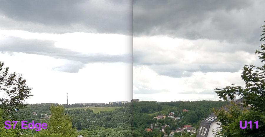 100-процентный кроп из снимков, сделанных на Samsung S7 Edge (слева) и HTC U11 (справа)