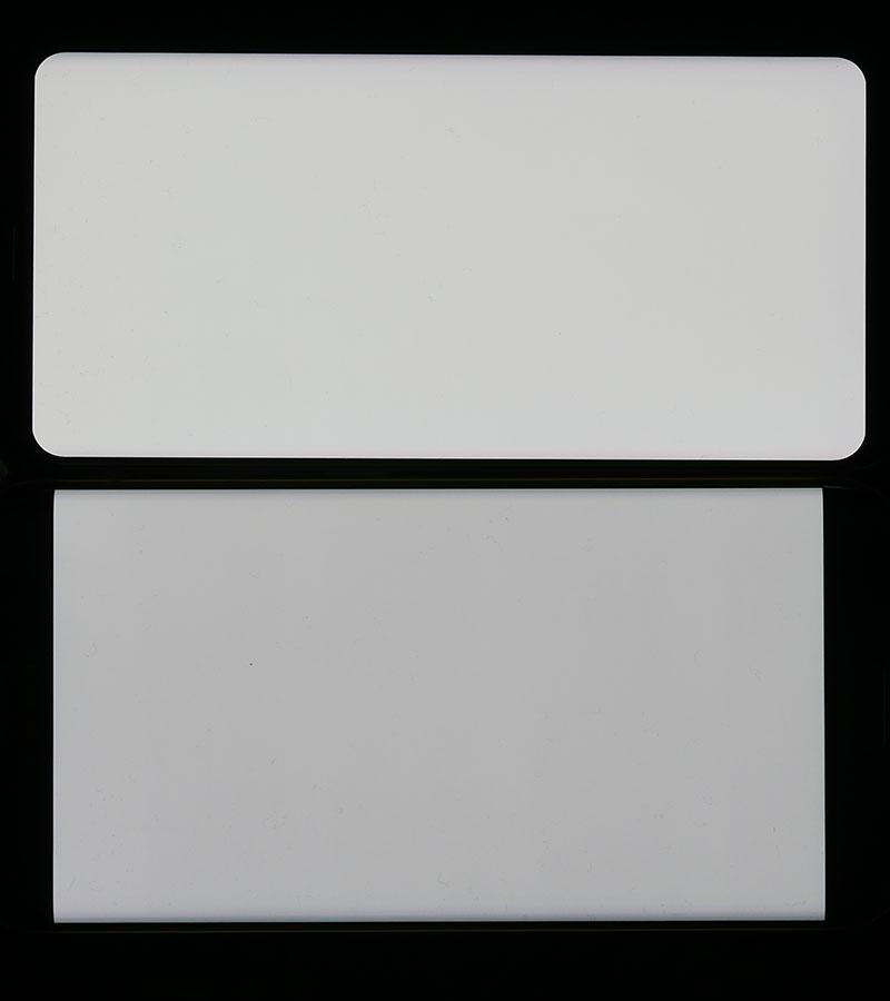 Экран Samsung Galaxy S8 сверху, дисплей Samsung Galaxy S7 Edge снизу (сравнение белого цвета)