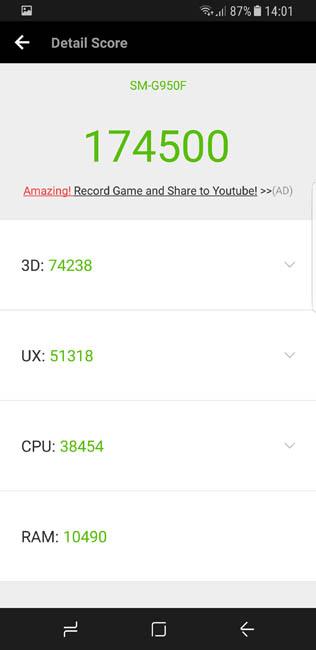 Результаты тестирования Samsung Galaxy S8 в тесте AnTuTu - разрешение QWHD+