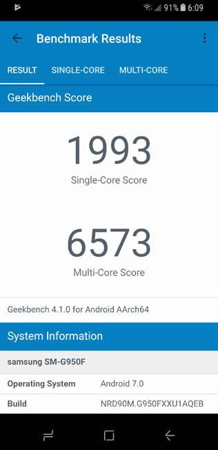 Результаты тестирования Samsung Galaxy S8 в тесте Geekbench 4