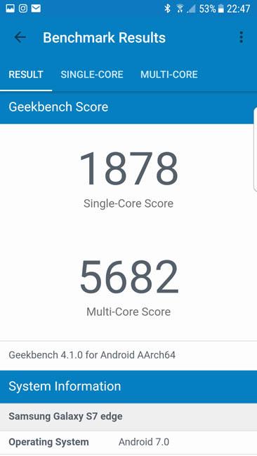 Рейтинг производительности Samsung Galaxy S7 Edge в Geekbench 4