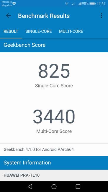 Тест производительности Honor 8 Lite в Geekbench 4