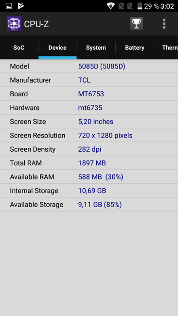 CPU-Z Alcatel A5 LED