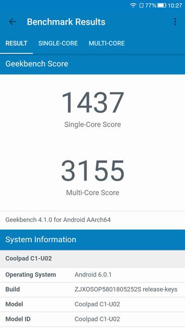 Тест производительности LeRee Le 3 в Geekbench 4