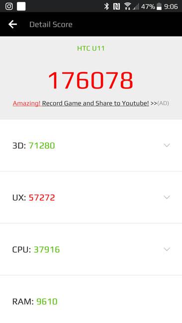 Результаты теста производительности HTC U11 в AnTuTu 6.2.7