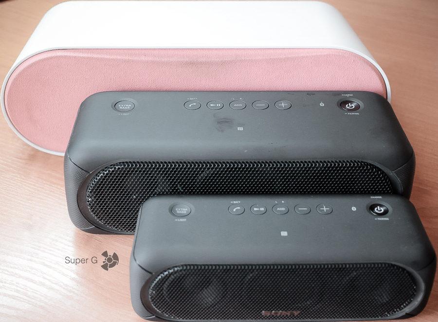 Сравнение размеров Sony SRS-XB30, SRS-XB40 и Creative D100