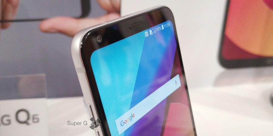 Скошенные края экрана LG Q6