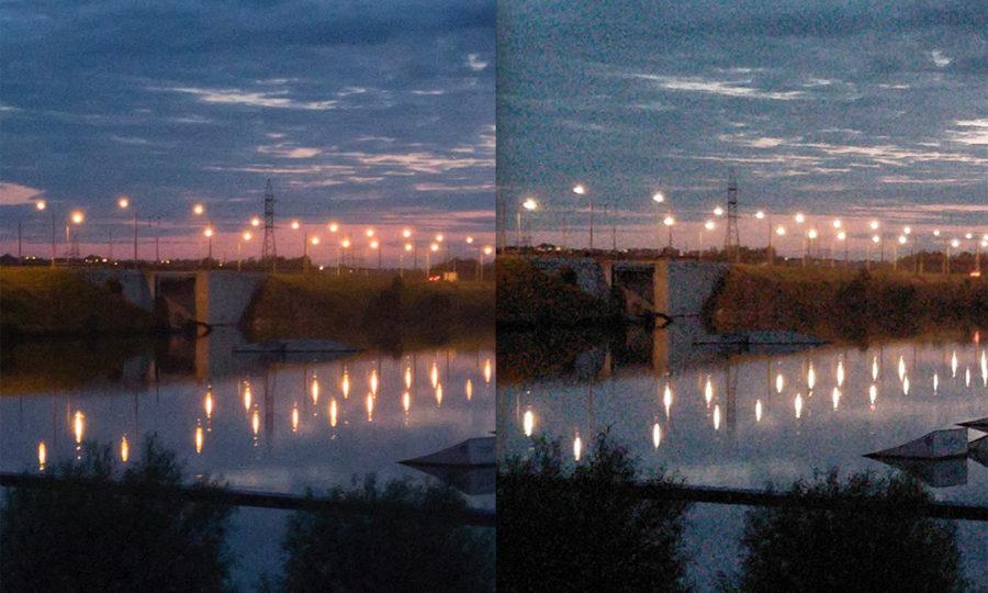 Слева 100-процентный кроп из фото, снятого в RAW, справа из фото, снятого сразу в JPEG