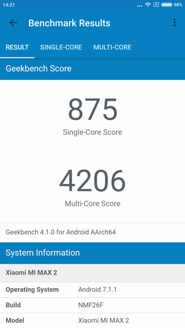 Тест производительности Xiaomi Mi Max 2 в тесте Geekbench 4