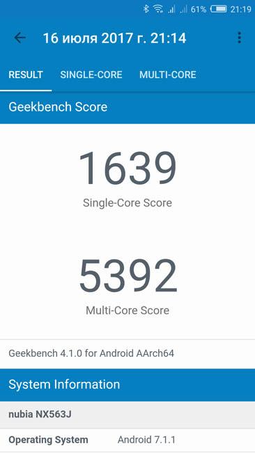 Тест производительности Nubia Z17 в Geekbench 4