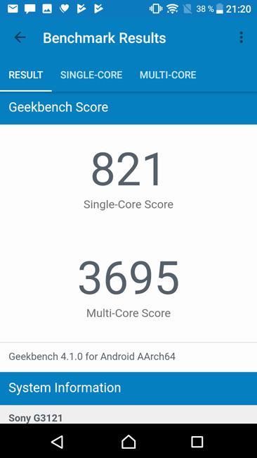 Geekbench 4 Sony Xperia XA1