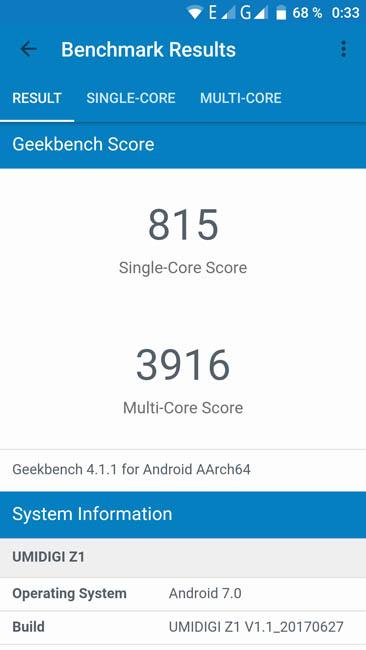 Тест производительности UMIDIGI Z1 в тесте Geekbench 4