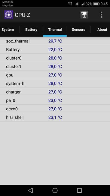 Нагрев смартфона Huawei Nova 2 в спокойном состоянии