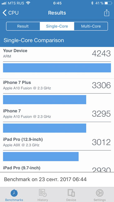 Одноядерный тест производительности iPhone 8 в Geekbench 4