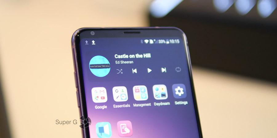 Экран LG V30 с соотношением сторон 18:9
