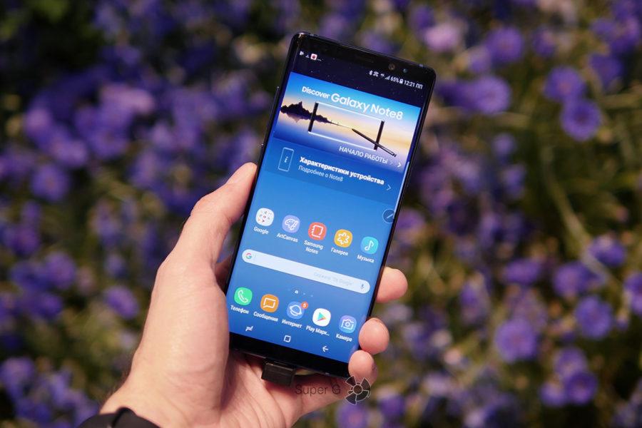 Samsung Galaxy Note 8 в руке - удобство использования