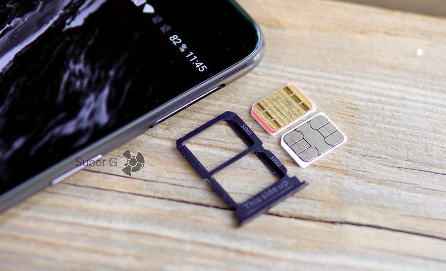 Лоток под SIM-карты OnePlus 5 - поддерживается только две Nano SIM