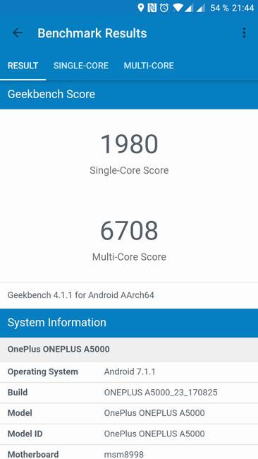Тест производительности OnePlus 5 в Geekbench 4