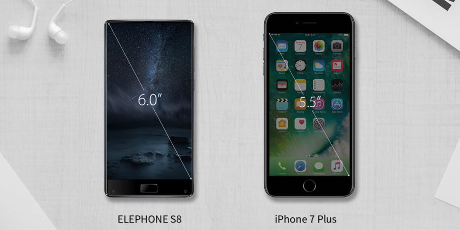 Сравнение экрана Elephone S8 с iPhone 7 Plus