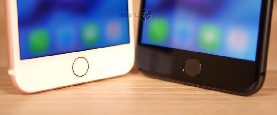 Скорость работы сканера отпечатков пальцев Touch ID iPhone 8 Plus (справа) и iPhone 7 Plus