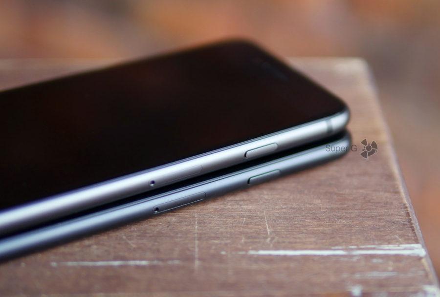 Кнопки в iPhone 8 (на фото сверху) и iPhone 7 (снизу)