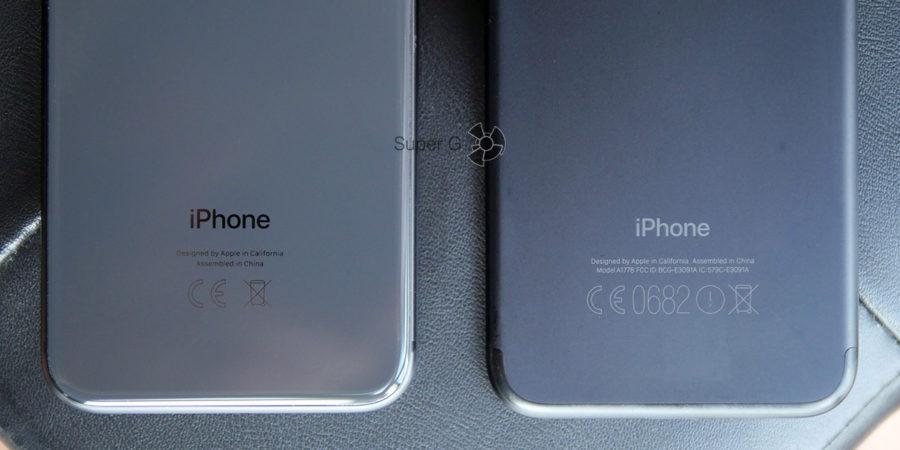 Надпись на задней крышке в iPhone 8 и iPhone 7 (справа)