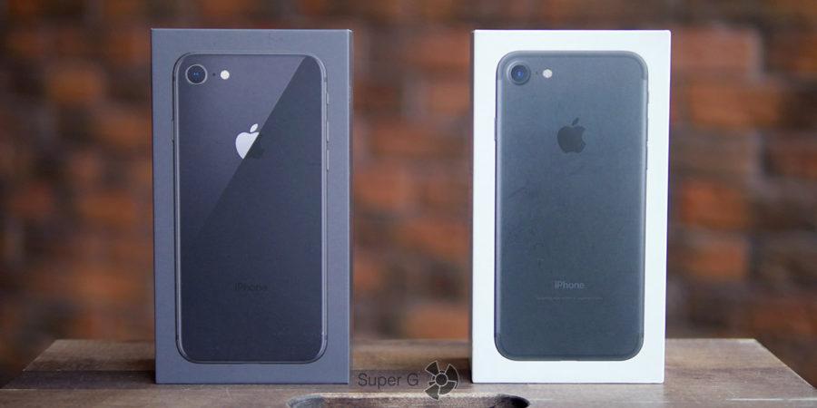 Коробка из-под iPhone 8 и iPhone 7 (справа)