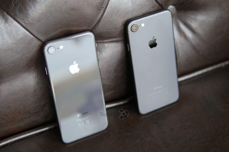 Тест и сравнение iPhone 8 (слева) и iPhone 7 (справа)