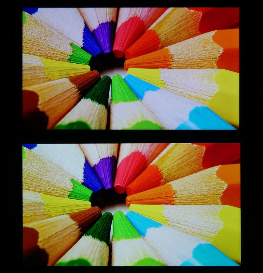 Сравнение экранов Xiaomi Mi A1 (сверху) и Meizu M6 Note (снизу)