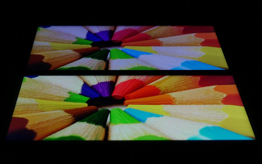 Сравнение экранов Xiaomi Mi A1 (слева) и Meizu M6 Note (справа) - отклонение
