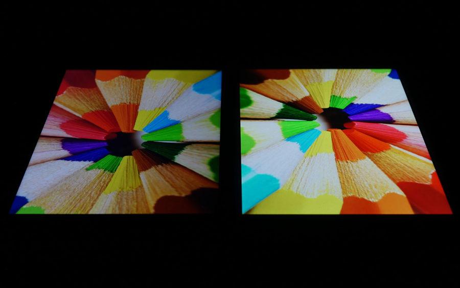Сравнение экранов Xiaomi Mi A1 (слева) и Meizu M6 Note (справа) - под углом