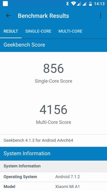 Тест производительности Xiaomi Mi A1 в Geekbench 4
