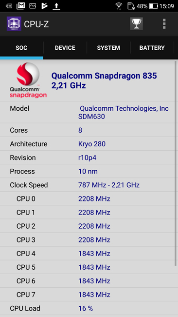 CPU-Z ASUS Zenfone 4
