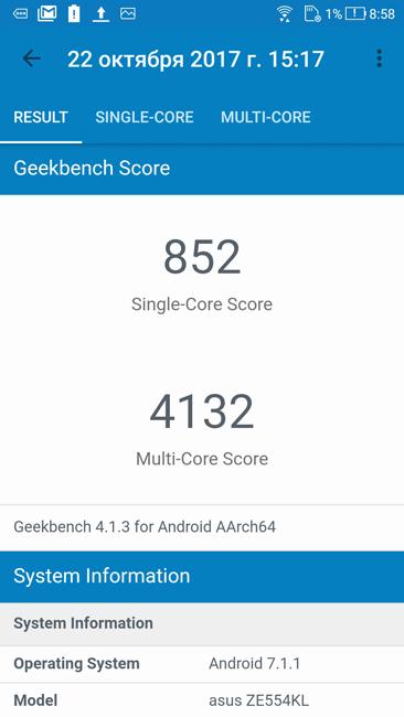 Geekbench ASUS Zenfone 4