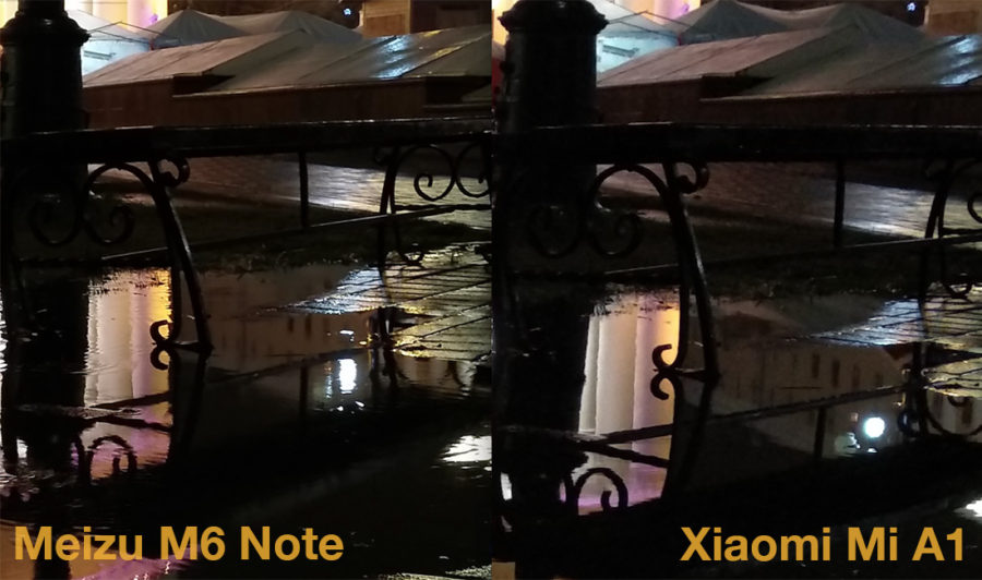 Comparecing of photos from camera of Meizu M6 Note and Xiaomi Mi A1 (Night 2)