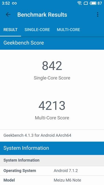 Тест производительности Meizu M6 Note в Geekbench 4