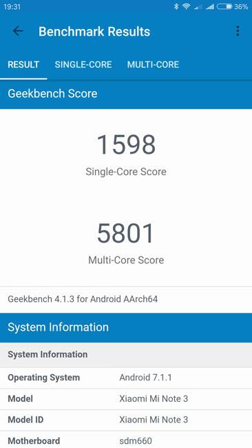 Тест производительности Xiaomi Mi Note 3 в Geekbench 4