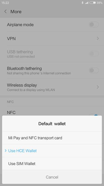 Чтобы активировать работу Android Pay на Xiaomi Mi Note 3 нужно выбрать HCE Wallet