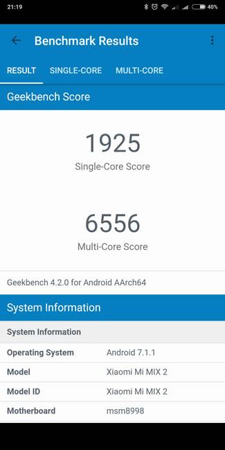 Тест производительности Xiaomi Mi MIX 2 в Geekbench 4
