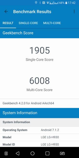 Тест производительности LG V30+ в Geekbench 4