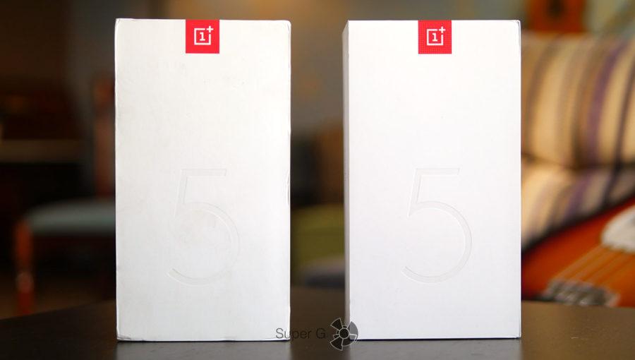 Слева коробка из-под китайской версии OnePlus 5T, а справа из-под американской