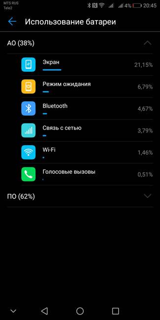 Использование аккумулятора Huawei Mate 10 Pro